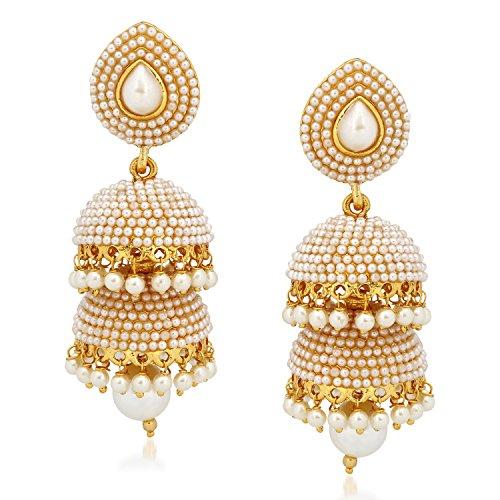 Meenaz Kundan Pearl Jhumka / Jhumki Ear rings For Girls Women in Traditional Ethnic Gold Plated Jewellery J143