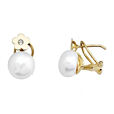 18k gold pearl earrings 8.5mm cubic zirconia flower button [AA5273]