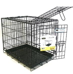 YML 24-Inch 2-Door Heavy Duty Dog Crate, Black
