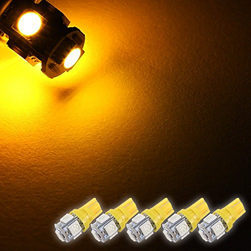 Zone Tech SMD Yellow Amber LED Light Bulbs - 5-Piece Premium Quality T10 194,168,2825 SMD Yellow Amber Super Bright Car Light LED Lamp Bulb (Colored Fog Light Bulbs compare prices)