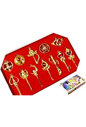 Sailor Moon Pretty Guardian 12PCS Cosplay Keychain Necklace Toy Christmas Gift