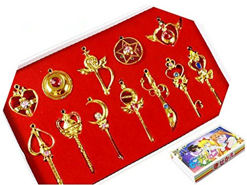 Great Deal! Pretty Guardian 12PCS Cosplay Keychain Necklace Toys