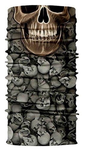 Festie Fever Multi Skull Rave Bandana Multifunctional Seamless Mask (Black & Tan)