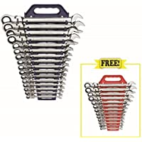 GearWrench 16-Piece Metric 12-Point Flex-Head Combo Ratcheting Wrench Set with Free 13-Piece Flex-Head Wrench Set