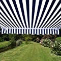 Aleko Markisenstoff Ersatz 2,95x 2,5m für einziehbare Markise blau/weiß, Gurt von ALEKO - Gartenmöbel von Du und Dein Garten