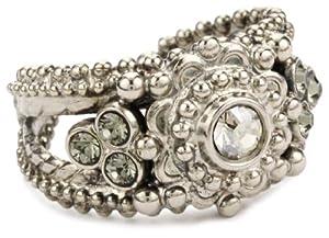 "Sorrelli ""Pewter"" Crystal Flower Band Silver-Tone Adjustable Ring"