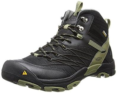 KEEN Men's Marshall Mid WP Hiking Boot,Black/Burnt Olive,7 M US