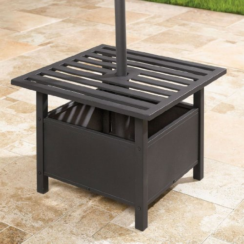 Backyard Table Umbrella : Cheap Umbrellas Bases BrylaneHome Umbrella Stand Side Table (BLACK,0)