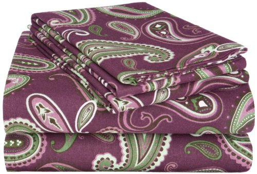 Flannel Cotton Sheet Set, Queen, Paisley
