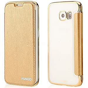 XUNDD Encore Series Luxury Leather Flip Case Cover for Samsung Galaxy S7 Edge - Gold