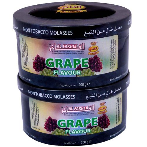 Al Fakher 2 x 200g Lot Herbal GRAPE Flavored Non tobacco Shisha Herbal Molasses (Al Fakher Tobacco Grape compare prices)
