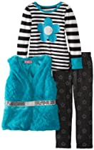 Young Hearts Girls 2-6X 3 Piece Striped Clover Flower Vest and Pant Set, Blue, 6