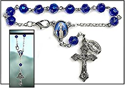 Our Lady of Grace Rearview Mirror Car Rosary Prayer Beads Auto Travel Protection Medal and Blessing