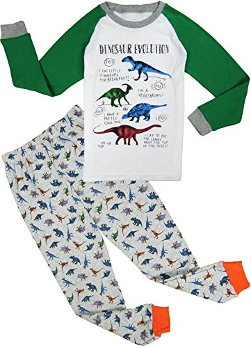 Babypajama Dinosaur Little Boys' Pajama Sleepwear 2-Piece Tee&Pants White