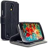 Terrapin Delux Leder Tasche Case Hülle im Bookstyle mit Standfunktion Kartenfächer für Samsung Galaxy S4 Mini Schwarz