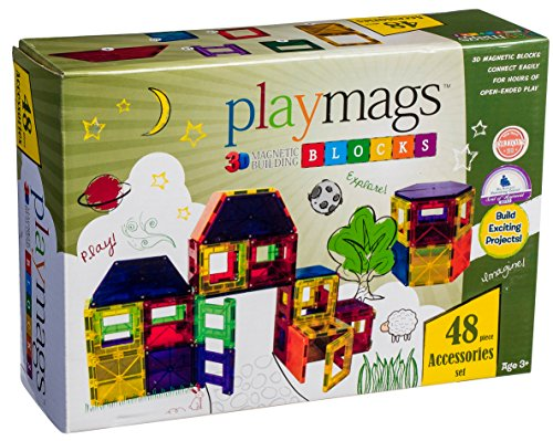 Playmags Clear Magnetic Tiles Building Accessories Set, 48 Piece