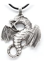Pewter Dragon Fantasy Magical Gothic Pendant on Leather Necklace