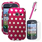 MINITURTLE, Slim Fit 2 Piece Snap On Protector Hard Phone Case Cover, Stylus Pen, and Clear Screen Protector Film 3 in 1 Accessory Combo for Prepaid Android Smartphone Samsung Galaxy Discover and Samsung Galaxy Centura S738C /Straight Talk /Net10 /Tracfone /Cricket (Hot Pink Polka Dot)