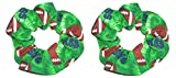 Football Hair Scrunchie Green Fabric Ponytail Holders Set of 2 Ties Handmade by Scrunchies by Sherry