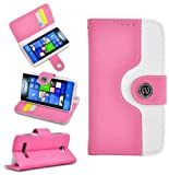 Magic Global Gadgets - Pink Designer Urban Retro PU Leather Wallet Book Card Slot Case Cover For HTC Windows 8S With Screen Guard & Stylus