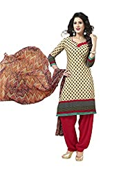 Globalepartner Women Synthetic Dress Material (Gray Red) (GEP-DC-63)