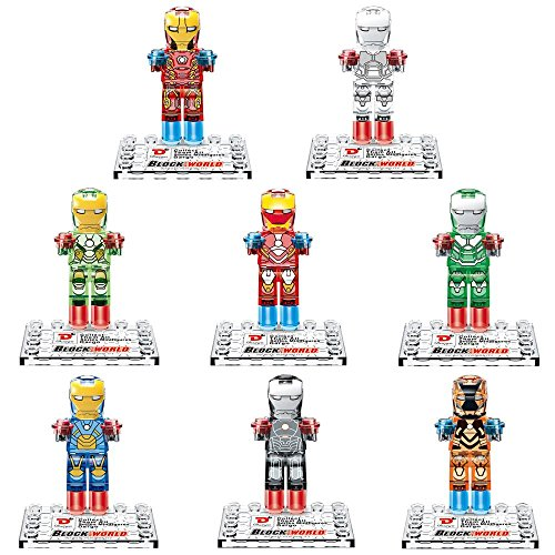 8 Pcs SuperHeroes Crystal Version ActionFigures [TheFigure MiniBlocks]Minifigures Educational Toys DIY Building Blocks Brinks Size 4.5-5cm.