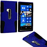 myLife (TM) Deep Sky Blue and Dark Matte Black Perforated Mesh Series (2 Layer Neo Hybrid) Slim Armor Case for the Nokia Lumia 920 920.2 920T and 920 4G Camera Smartphone by Microsoft (External Rubberized Hard Shell Mesh Piece + Internal Soft Silicone Flexible Gel)