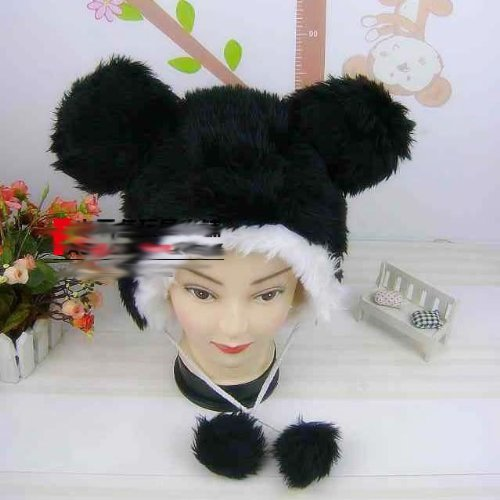 "Animal Ski Hat Plushy BLACK Mouse Faux Fur with Fuzzy Ears with Poms ""SEXY"" One size fits most"