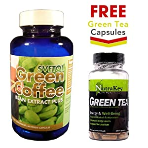 Svetol Green Coffee Bean Extract Plus + FREE Green Tea Extract 100 Vcaps (350mg)
