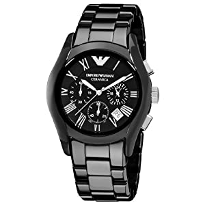 Emporio Armani AR1400 Gents Black Ceramic Round Black Dial Chronograph Watch