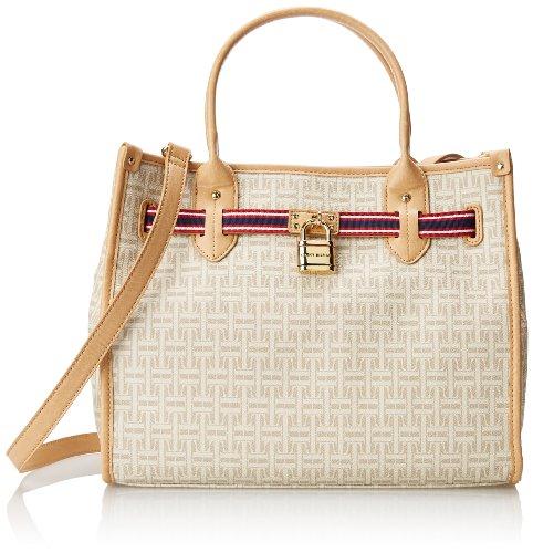 Tommy Hilfiger TH Heritage Shopper Coated Logo Shoulder Bag,Biscuit/Tonal,One Size