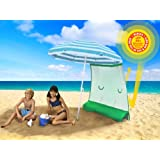 Double YOUR Umbrella's Shade & UV Protection: (Patented) - ezShade Sunshield BLOCKS 99% UVA/UVB - DOUBLES shade, keeps you COOLER, and INSTANTLY ATTACHES to ANY nylon/poly umbrella - (only 9 OZ) UMBRELLA NOT INCLUDED. only BLUE works with ezShade umbrella.