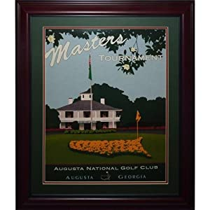 Masters Golf Tournament Deluxe Framed Clubhouse Poster by PalmBeachAutographs.com