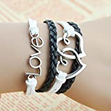 Real Spark Unisex Black and White Love Theme Adjustable Length Closer Hearts Wrap Bracelet