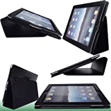 ACCESSORIES ONLINE iPad 2 Premium Leather Case Cover and Flip Stand Wallet for Apple iPad 2   Black * NEW LATEST * FITS ALL MODELS *   With Magnetic Sleep / Wake Sensor Feature ** QUALITY GUARANTEED OR 100% MONEY BACK PROMISE! ** PLUS FREE BONUS! ** + 2 FREE SCREEN PROTECTORS ** Quality Bestselling Case in UK phones