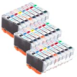 3 Compatible Sets of 8 Canon CLI-8 Printer Ink Cartridges (8 Inks) - Black / Cyan / Magenta / Yellow / Photo Cyan / Photo Magenta / Green / Red for Canon Pixma Pro 9000 & Pro 9000 Mark II