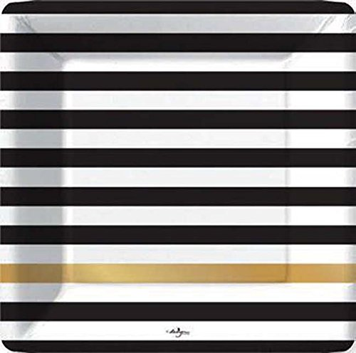 Design Design Kenzie Black White Gold Stripe Paper Dinner Plates