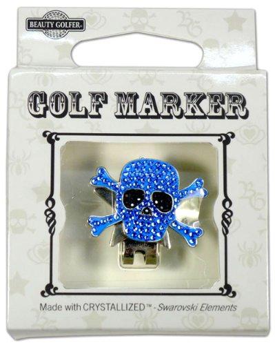 ゴルフ マーカー BGー16 ドクロ ブルー