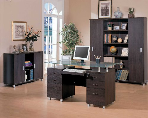 Contemporary Home Office Computer Desk With Glass Top front-935726