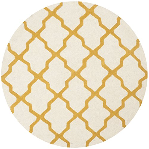 Safavieh Cambridge Collection CAM121U Handmade Ivory and Gold Wool Round Area Rug, 4 feet in Diameter (4' Diameter)