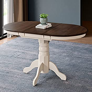 CorLiving DSH-470-T Dillon Dining Table, Dark Brown/Cream