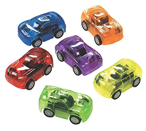 12 Plastic Transparent Pull Back Toy Cars