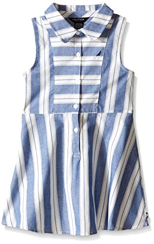 Nautica Toddler Yarn Dyes Stripe Faux Linen Dress, Navy, 4T