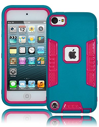Bastex Heavy Duty Robotic Design Hybrid Teal Rubberized Case With Hot Pink Hard Insert For Apple Ipod Touch 5