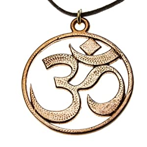 Om Peace Bronze Pendant Necklace on Adjustable Natural Fiber Cord
