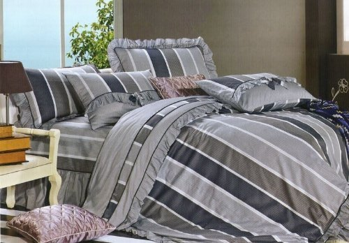 High Quality New 3Pcs 100% Cotton Xl Extra Long Dark Grey Stripe Girl Boy Twin Size Dorm Bed Sheet Pillowcase Set front-780190