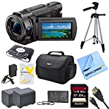 Sony FDRAX33 FDR-AX33 FDR-AX33/B AX33 4K HD Video Recording Handycam Camcorder Bundle With 2 High Capacity Spare Batteries, 64GB High Speed Card, Full Sized Tripod, Deluxe Case, Rapid AC/DC Charger, Micro HDMI Cable, UV Filter, and More