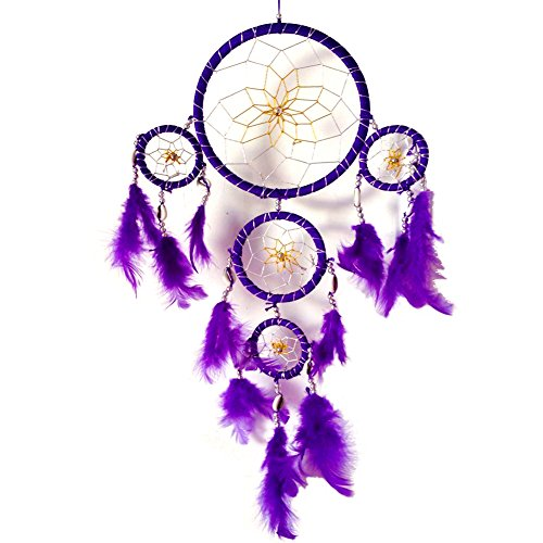 Handmade Dream Catcher Traditional Dreamcatcher Feather Wall Hanging Decoration, Purple