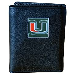 NCAA Miami Hurricanes Genuine Leather Tri-fold Wallet