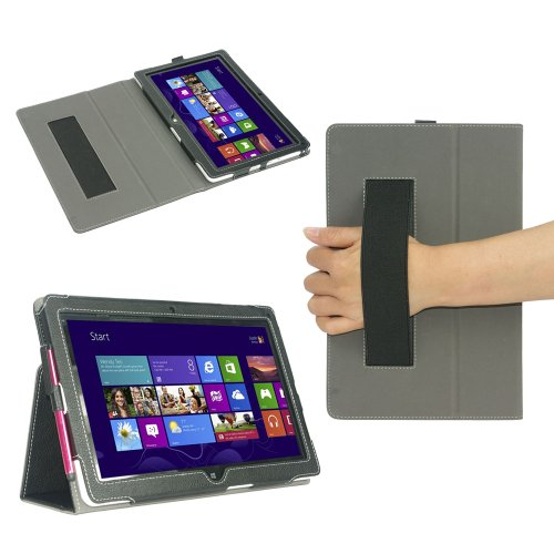 KattWolf Slim Stand Leather Case for Acer Iconia W510 Tablet (With Stylus Loop and Elastic Handstrap)